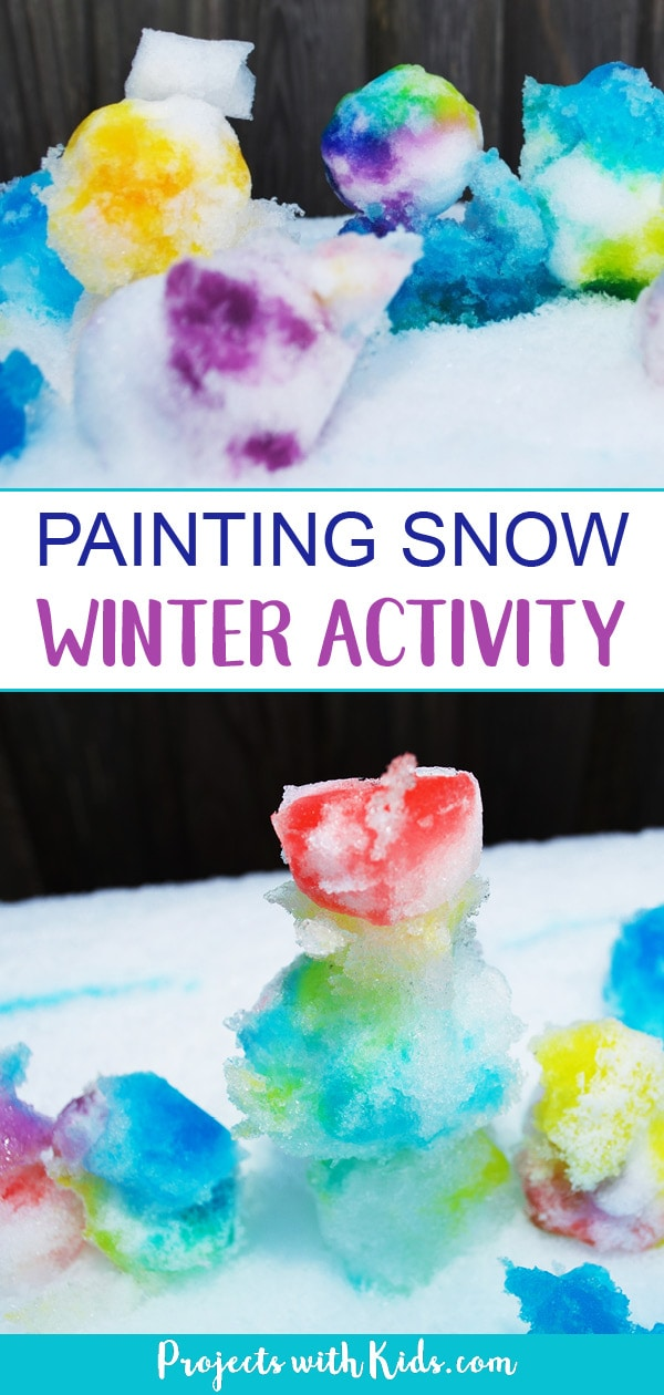 This is an easy almost no prep activity that will have your kids engaged and having fun playing with snow and creating beautiful colored snow sculptures. #winteractivitiesforkids #kidsactivities #sensoryplay #projectswithkids