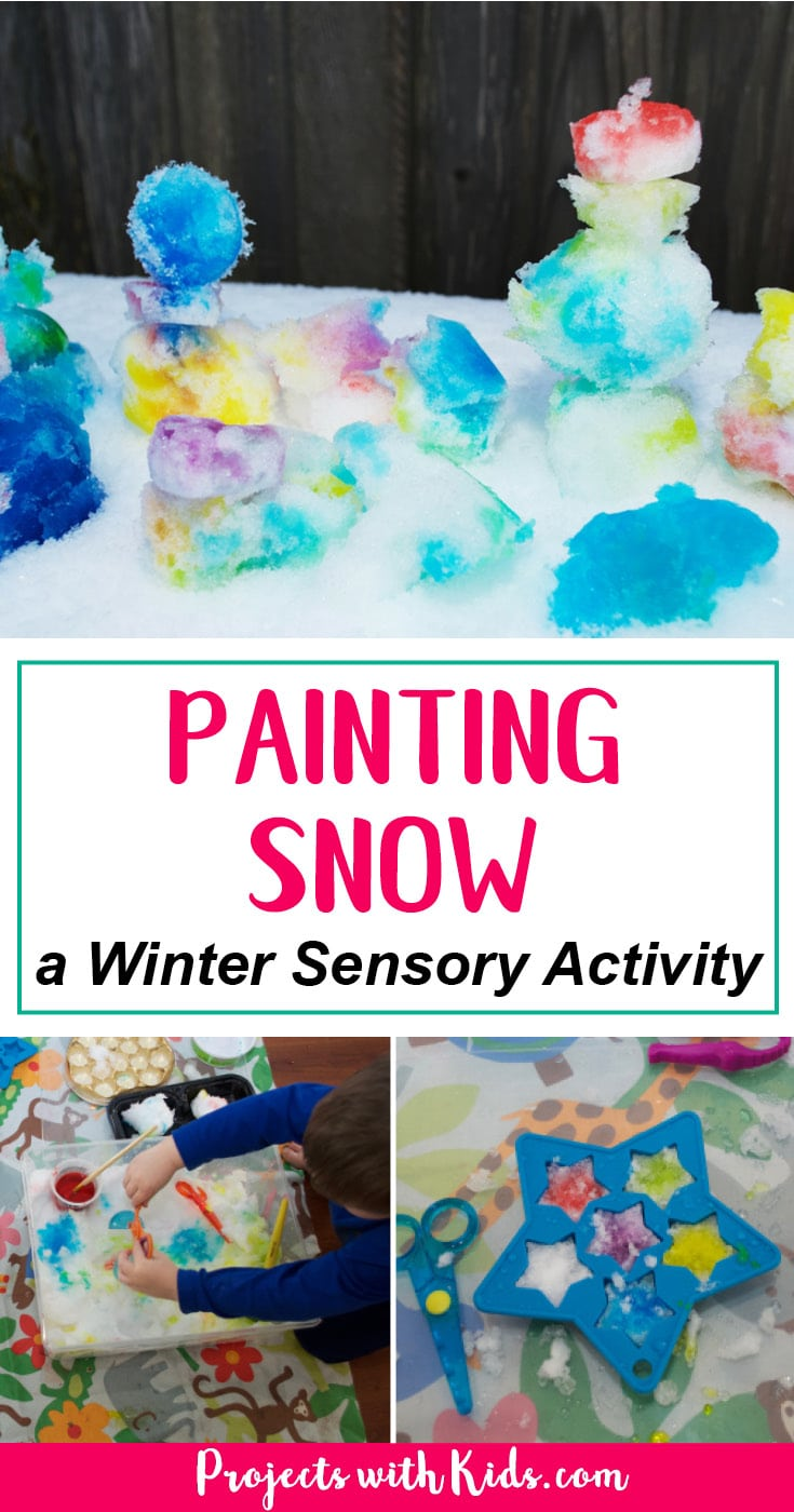 This winter sensory activity is an easy almost no prep project that will have your kids engaged and having fun! You can do this activity inside or outside or try both for different experiences! #winteractivities #wintersensoryactivities #sensoryactivities