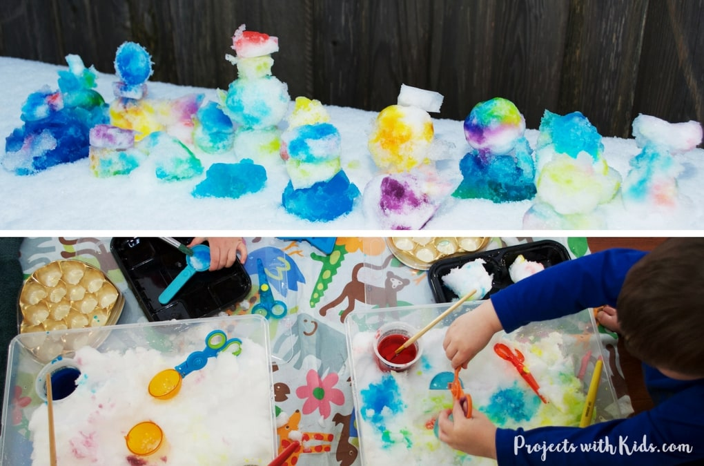 Painting snow: a winter sensory activity. This is an easy almost no prep activity that will have your kids engaged and having fun! You can do this activity inside or outside or try both for different experiences!
