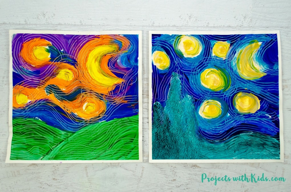 Paint Van Gogh S Starry Night Using Forks Learn About Creating Movement And Texture In Painting