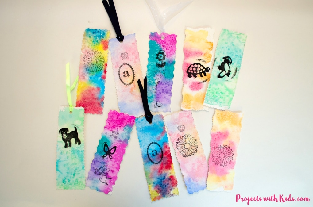 These beautiful watercolor bookmarks are a snap to make with watercolors, stamps and decorative scissors. Your kids will love giving these as gifts!
