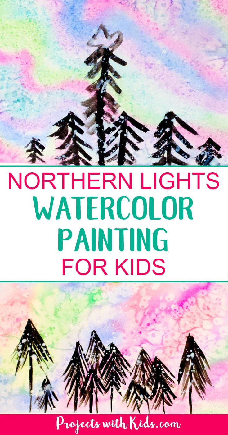 Create a beautiful northern lights watercolor painting using easy watercolor techniques that kids will love experimenting and having fun with! #watercolorpainting #artprojectsforkids #northernlights #projectswithkids