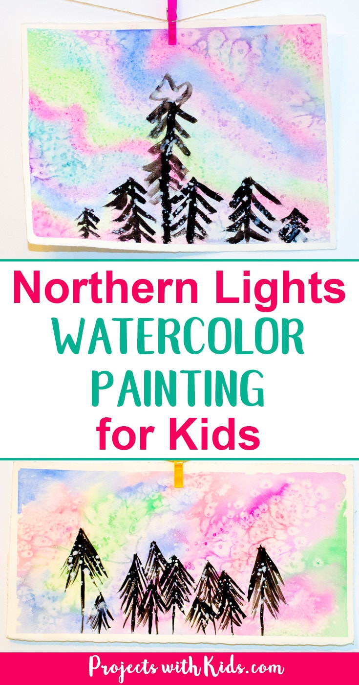 Create a beautiful northern lights watercolor painting using easy watercolor techniques that kids will love experimenting and having fun with! #watercolorpainting #northernlights #kidsart