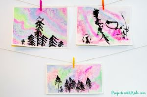 Northern Lights Watercolor Painting for Kids