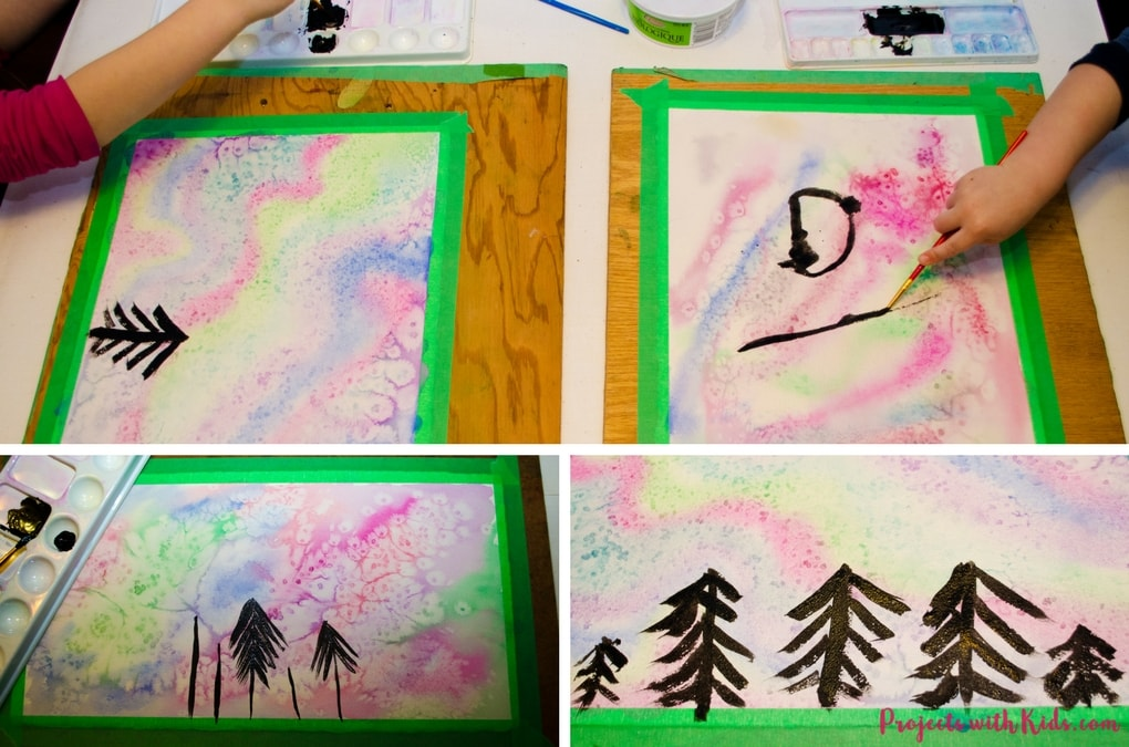 Create a beautiful northern lights watercolor painting using easy techqniques that kids will love experimenting and having fun with!