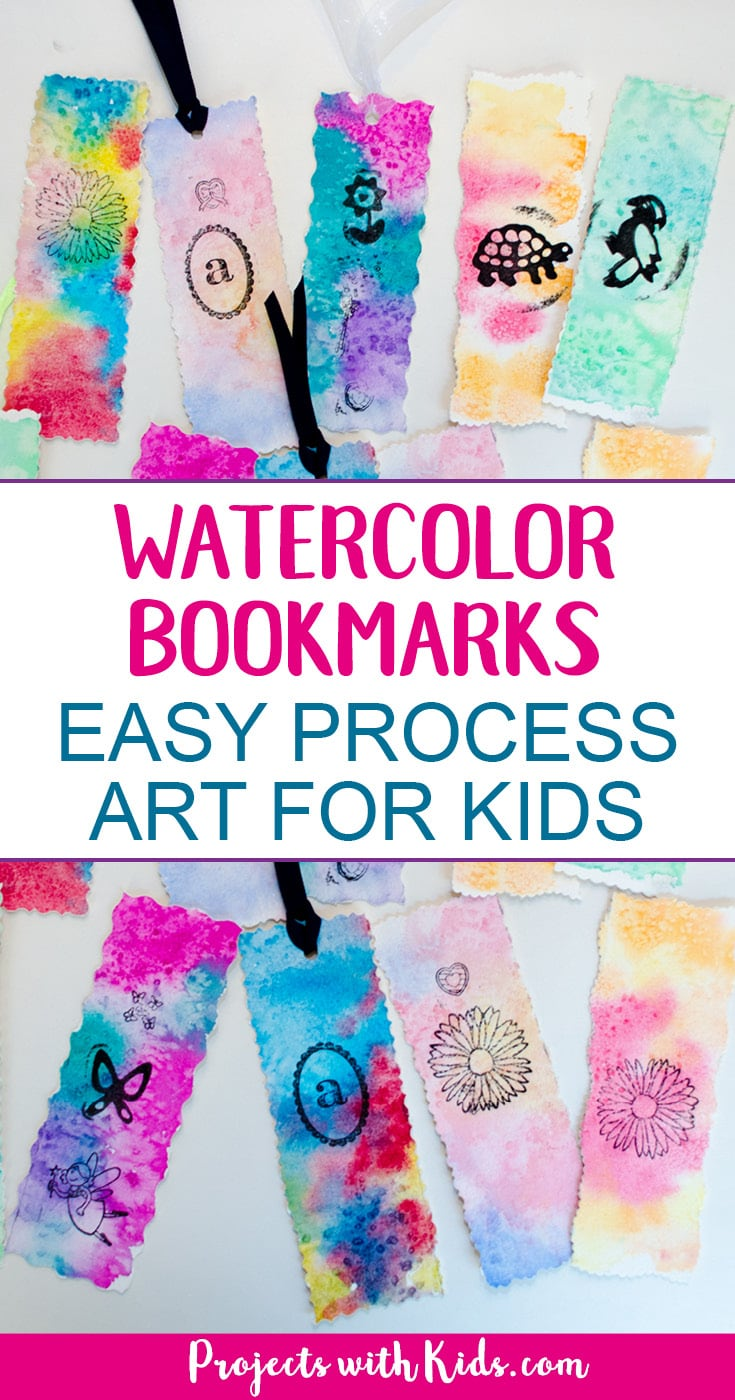 These beautiful watercolor bookmarks are a snap to make with watercolors, stamps and decorative scissors. Easy process art with simple watercolor techniques that produce amazing results. A wonderful art project for kids of all ages. Your kids will love giving these as gifts! #watercolorpainting #diybookmarks #projectswithkids #kidcrafts