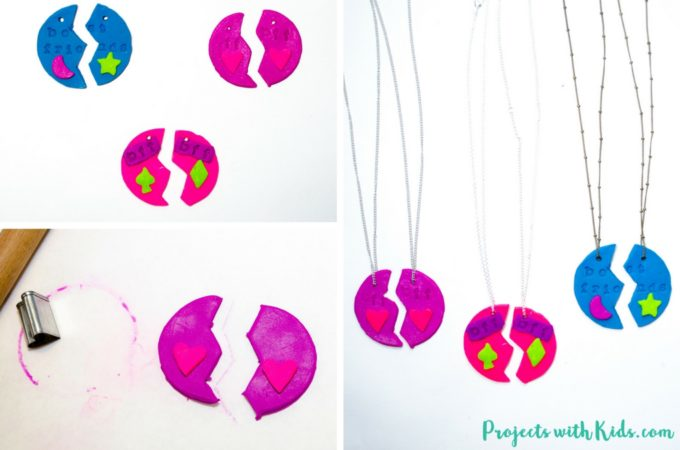 Adorable polymer clay best friends necklaces that kids will love making and sharing with their BFF's!