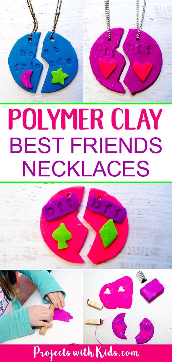 Adorable polymer clay best friends necklaces that kids will love making and sharing with their BFF's! Super simple and fun with endless design possibilities. #diyjewelry #polymerclay #handmadegifts #kidscrafts #projectswithkids