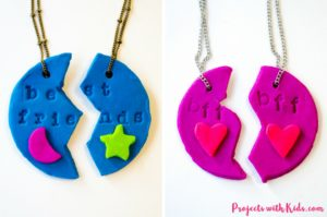 Adorable polymer clay best friends necklaces that kids will love making and sharing with their BFF's! Super simple and fun with endless design possibilities.