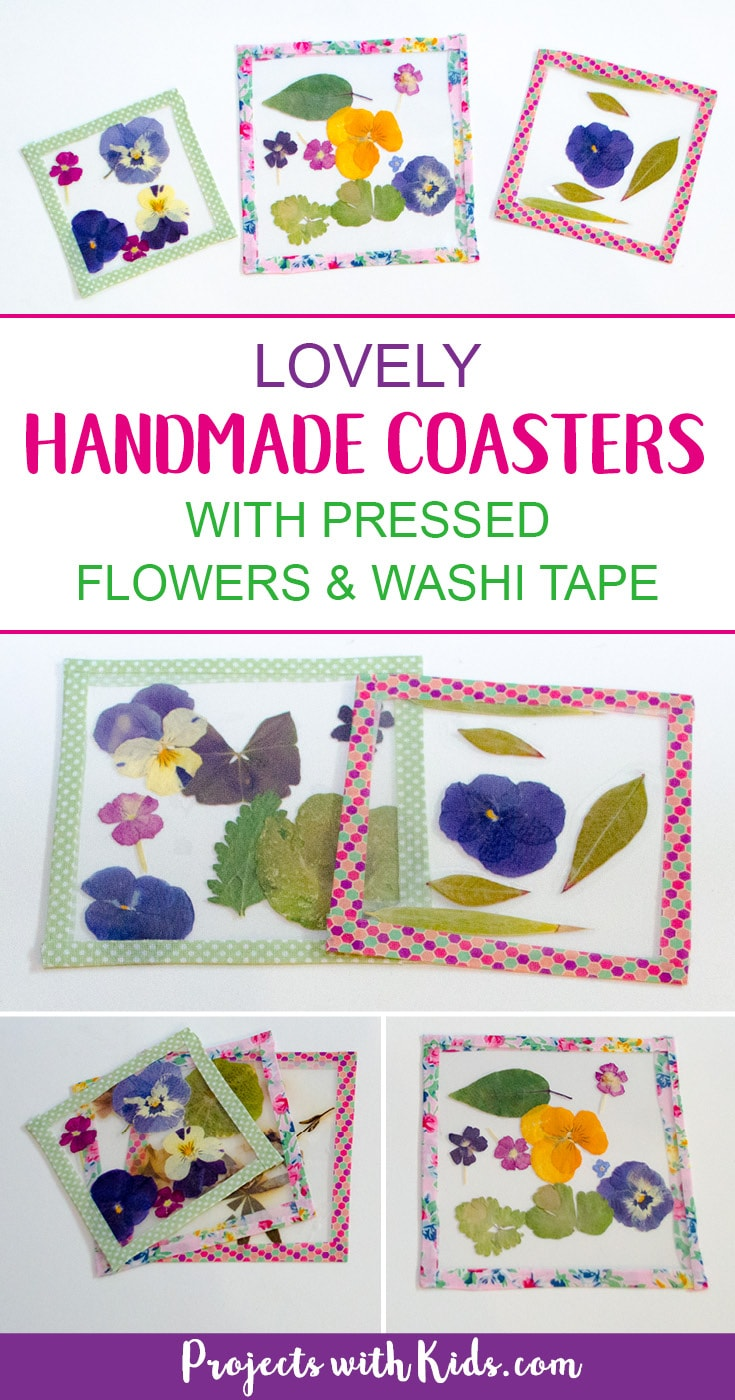 These lovely handmade coasters use pressed flowers and washi tape and are bright and colorful and so fun for kids to make. They would make a great handmade gift for Mother's Day, Christmas or any occasion. A wonderful spring or summer project! #diygifts #washitape #kidscraft #projectswithkids