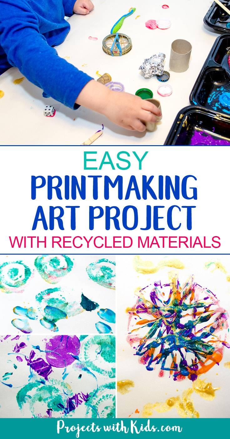 A fun and easy printmaking activity that uses recycled materials. This art project requires almost no prep and will have kids engaged and creating with beautiful and surprising results! A great process art project for kids of all ages. #printmaking #artprojectsforkids #processart #projectswithkids