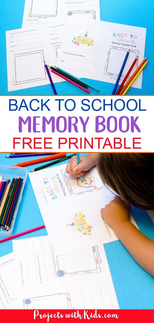 This back to school memory book is super simple and easy for kids to fill out. A fun & colorful design, kids will love to write and draw in to capture their back to school memories. A great keepsake craft! #projectswithkids #backtoschool #kidscrafts #freeprintables