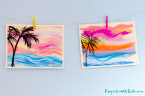 Create stunning chalk pastel sunsets with kids