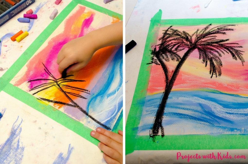 Create these stunning chalk pastel sunsets with kids. So much messy fun, kids will love learning and exploring with chalk pastels!