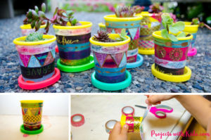 Cute & colorful mini plant pots kids can easily make
