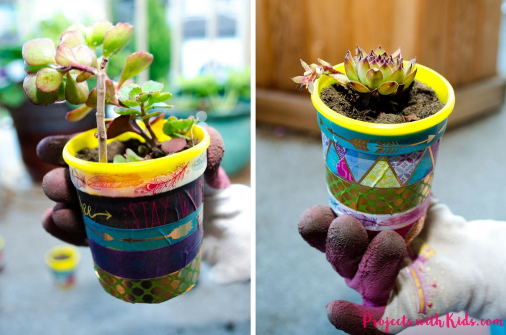 These mini plant pots are too cute for words! Colorful washi tape is all it takes to transform these recycled containers into little works of art. Perfect for giving as gifts!