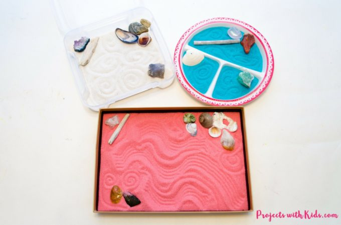 These zen gardens for kids are so easy and fun to make! This is a great calming sensory activity for kids that you can customize with different colors and accessories. They would make really great handmade gifts as well!