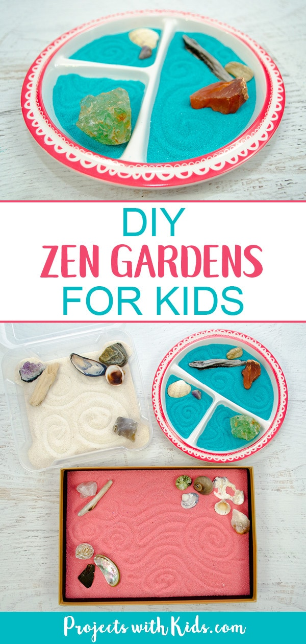 These zen gardens for kids are so easy and fun to make! This is a great calming sensory activity for kids that you can customize with different colors and accessories. They also make wonderful handmade gifts that kids would love making for someone special. #kidscraft #diygifts #zengardens #sensoryactivities #projectswithkids