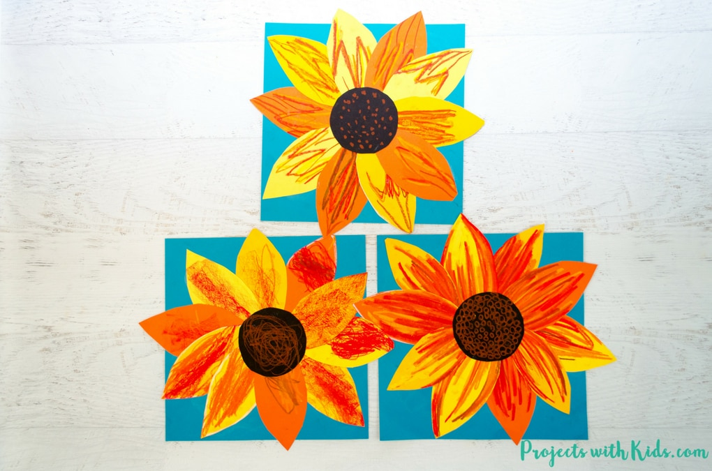 This autumn sunflower craft with oil pastels is a beautiful way to bring the vibrant colors of fall indoors. Free printable sunflower template included!