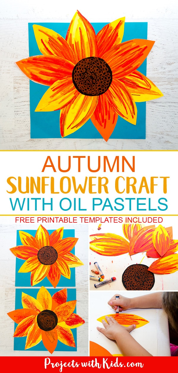This autumn sunflower craft with oil pastels is a beautiful way to bring the vibrant colors of fall indoors. Free printable sunflower template included! #projectswithkids #fallcrafts #sunflowercraft #artprojectsforkids #kidscraft