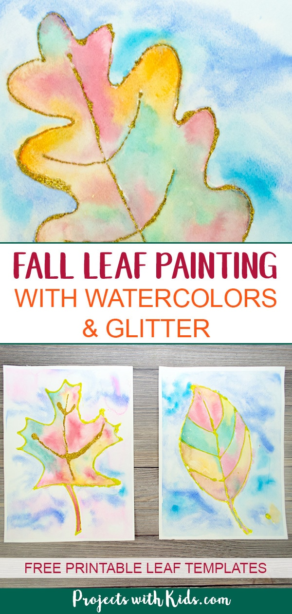 This fall leaf painting with glitter and watercolors is a beautiful and colorful way to bring autumn colors indoors. Includes 3 free leaf templates! #fallcrafts #projectswithkids #watercolorpainting #leafpainting