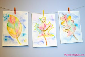 Fall Leaf Painting with Watercolors & Glitter