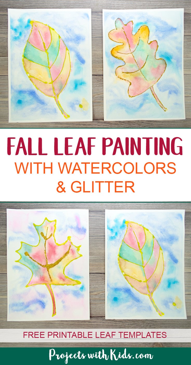 This fall leaf painting with glitter is a beautiful and colorful way to bring autumn colors indoors. Kids will love exploring the magical qualities of watercolor painting and using a common craft supply to create the glitter outlines! Includes 3 free leaf printable templates. #fallcrafts #projectswithkids #watercolorpainting #leafpainting