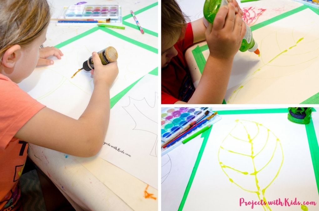 This fall leaf painting with glitter is a beautiful and colorful way to bring autumn colors indoors. Kids will love exploring the magical qualities of watercolor painting and using a common craft supply to create the glitter outlines! Includes 3 free leaf printable templates.