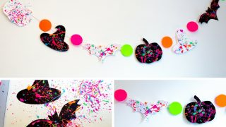 Neon Splatter Paint Halloween Banner with Free Printables