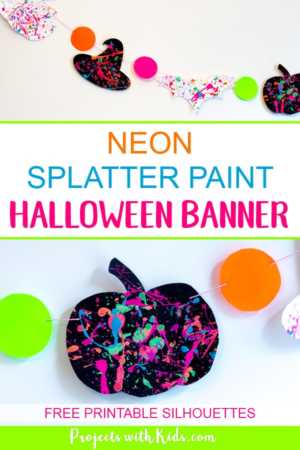 Go neon this Halloween and brighten up your Halloween decor with this neon splatter paint halloween banner with free printables! This is an easy and fun process art activity that kids of all ages will love. #projectswithkids #halloweencrafts #halloweendecorations #craftsforkids #freeprintables