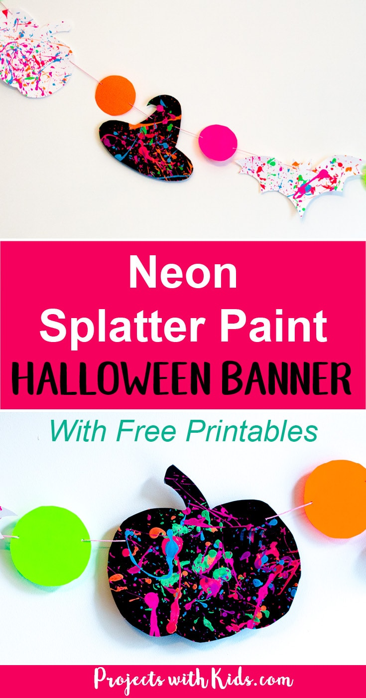 Take your Halloween decor to the next level with this neon splatter paint halloween banner with FREE printables! This is an easy and fun process art activity that kids of all ages will love. Check out the full post to get your FREE halloween silhouette printables!