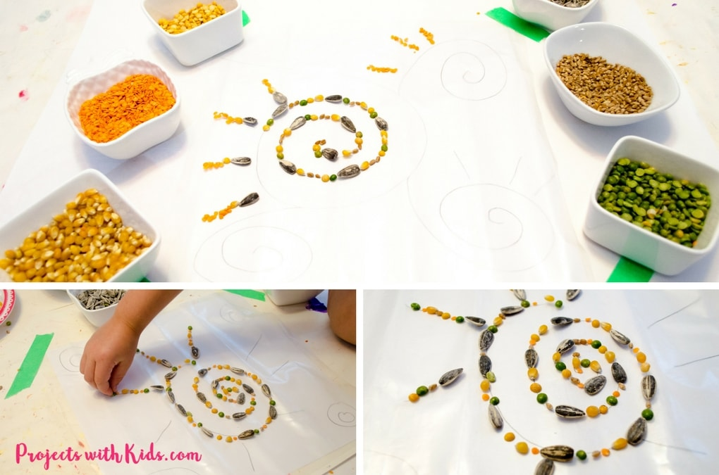 Make a unique fall suncatcher using seeds! Give this low cost activity a try that will have kids of all ages engaged for a long time. Looks beautiful taped up on a window!