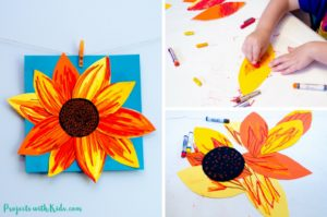 Autumn Sunflower Craft with Oil Pastels