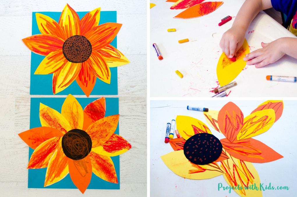 photograph about Printable Sunflower titled Autumn Sunflower Craft with Oil Pastels Assignments with Young children