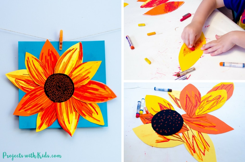 sunflower craft ideas autumn sunflower craft with pastels projects with 3032