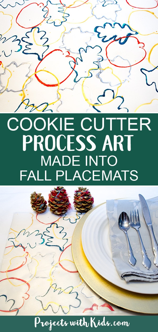 Turn cookie cutter process art into beautiful fall placemats for your holiday table. This fall craft is a perfect project for preschoolers that older kids will also enjoy creating. A great handmade gift idea! #projectswithkids #fallcrafts #autumncrafts #processart #kidscrafts