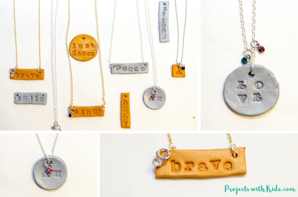 Learn how to make these engraved polymer clay necklaces that kids will have tons of fun making! These necklaces are sparkly and gorgeous and perfect for customizing, kids will love giving these as gifts and of course keeping some for themselves! Use initials, important dates, favorite hobbies, the possibilities are endless! Read the full post for all the details.