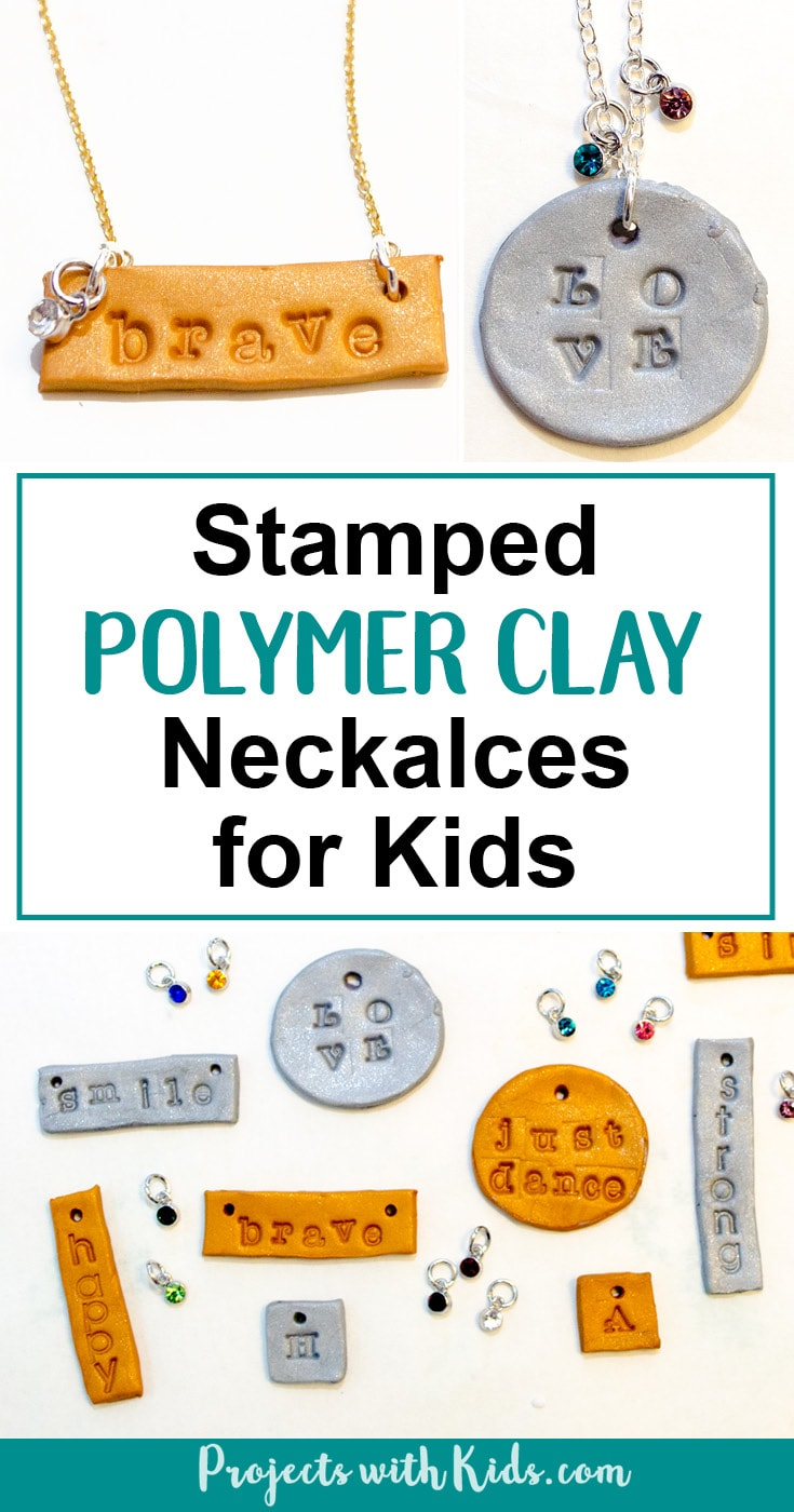 Learn how to make these stamped polymer clay necklaces that kids will have tons of fun making! These necklaces are sparkly and gorgeous and perfect for customizing, kids will love giving these as gifts and of course keeping some for themselves! Use initials, important dates, favorite hobbies, the possibilities are endless! #diyjewelry #polymerclay #handmadegifts
