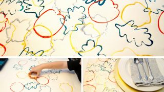 Cookie Cutter Process Art Made into Fall Placemats