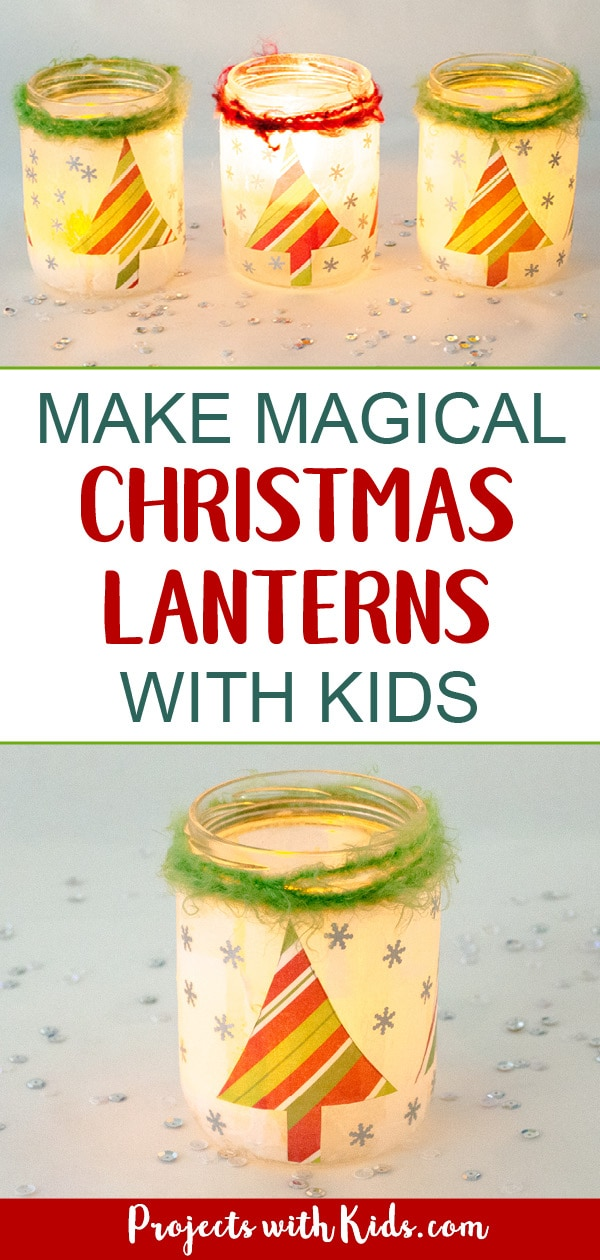 Kids will love making these magical Christmas lanterns! They look absolutely stunning lit up with a candle inside and would make the perfect addition to any holiday decor. #christmascrafts #christmaslanterns