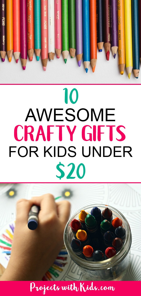 These crafty gifts for kids will inspire children to create and have fun! Some of the best craft supplies are open-ended ones that let your kids creativity shine through. Click on the link to find some inspiration for the crafty kids in your life. #projectswithkids #kidscrafts #giftguide #kidsgifts