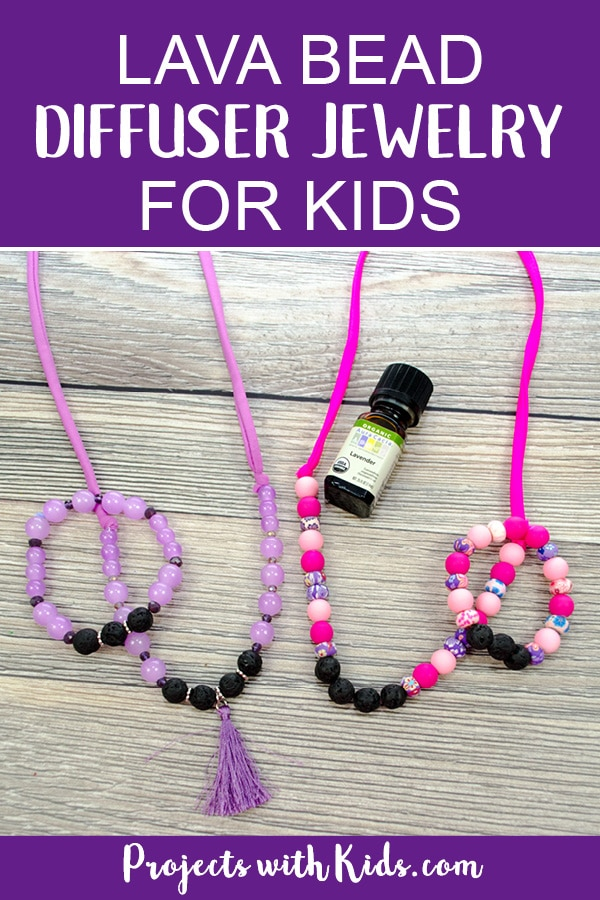 Lava bead diffuser jewelry for kids is so easy and fun to make! Kids can customize their diffuser jewelry with their favorite colors and essential oils, or they can customize it for a special handmade gift for Mother's Day or any occasion. A great diy jewelry craft for kids! #diyjewelry #diffuserjewelry #projectswithkids #HandmadeHolidays