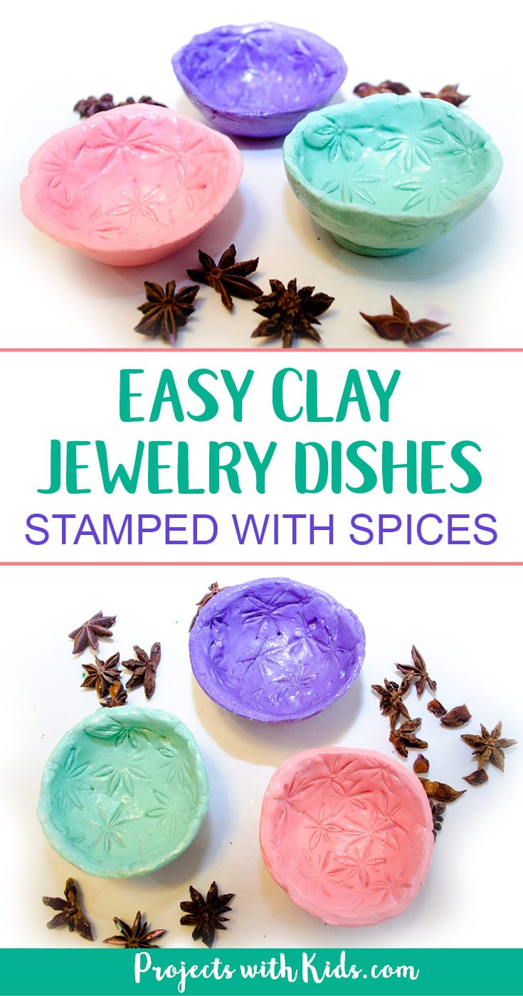 Make easy air dry clay jewelry dishes and decorate them by stamping the clay with spices for a unique craft that makes a beautiful handmade gift. A great Mother's Day or Christmas craft for kids to give to someone special! #airdryclay #diygifts #mothersday #projectswithkids