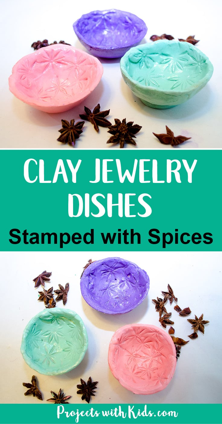 Make pretty clay jewelry dishes and decorate them by stamping the clay with spices for a unique craft that makes a beautiful handmade gift.