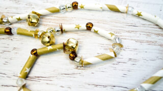 Sparkly Gold Christmas Garland with Paper Straws