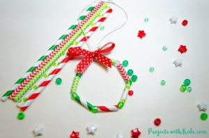 Easy Kid Made Wreath Ornaments with Paper Straws