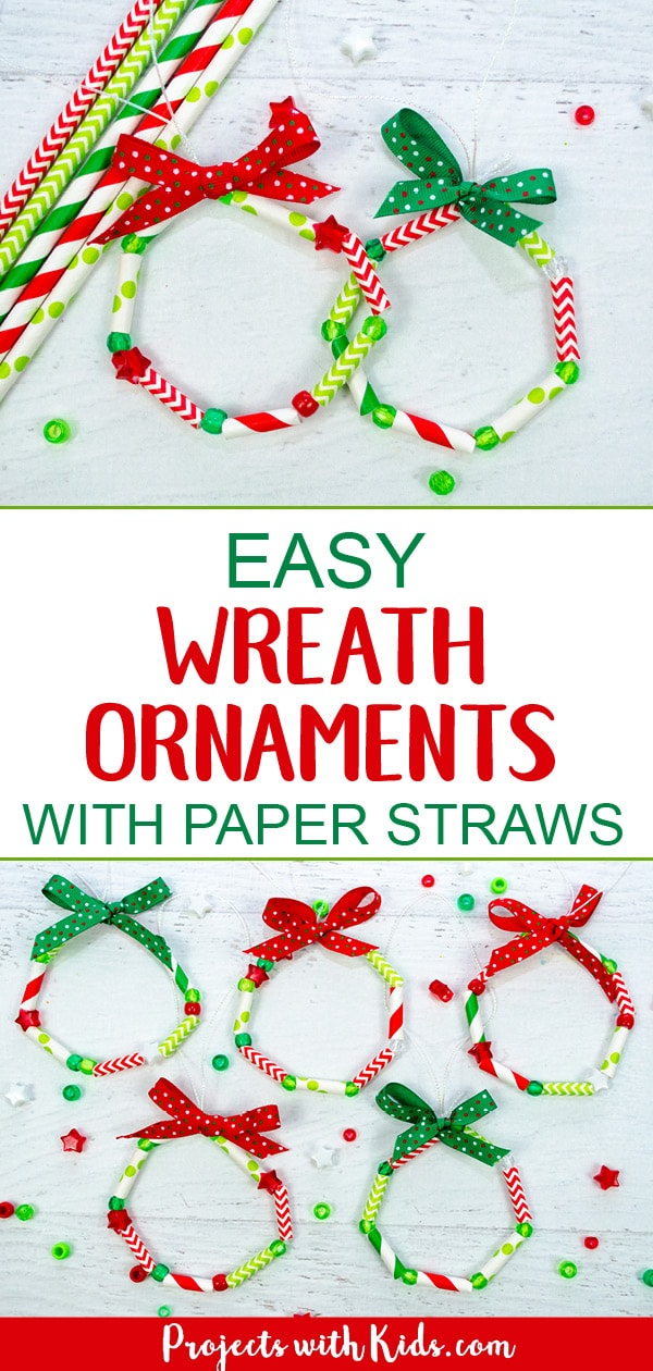 These wreath ornaments with paper straws are the perfect colorful addition to any Christmas tree. An easy and fun Christmas craft for kids of all ages. #christmascrafts #diyornaments #kidschristmas #projectswithkids