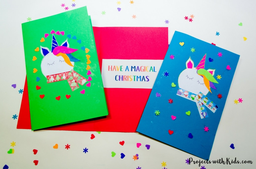 Spread some holiday magic this season with these adorable and colorful unicorn Christmas cards! Kids will love making and giving them to their friends and family this Christmas. Free printable template included.