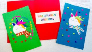 Adorable Unicorn Christmas Cards Kids Can Make