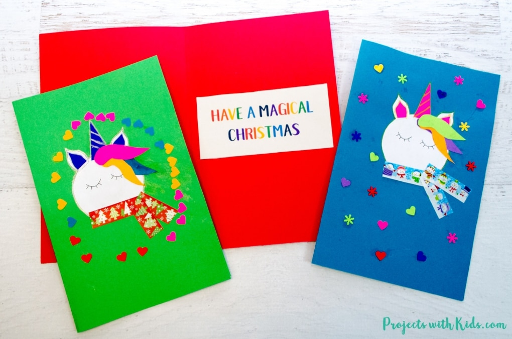 Adorable Unicorn Christmas Cards Kids Can Make | Projects with Kids